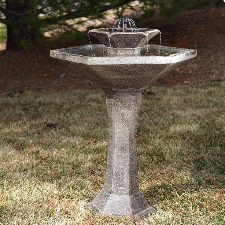 Smart Solar Alfresco 2-Tier Solar Bird Bath Fountain | smaller than some from hayneedle.com