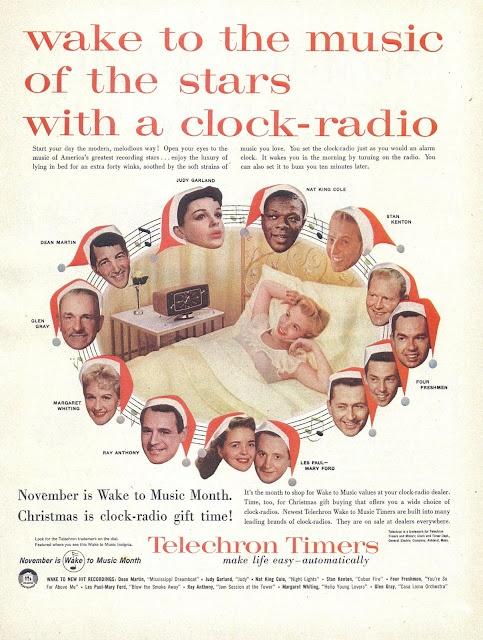 Vintage Christmas Magazine Ad ~ Telechron Clock Radio ©1956