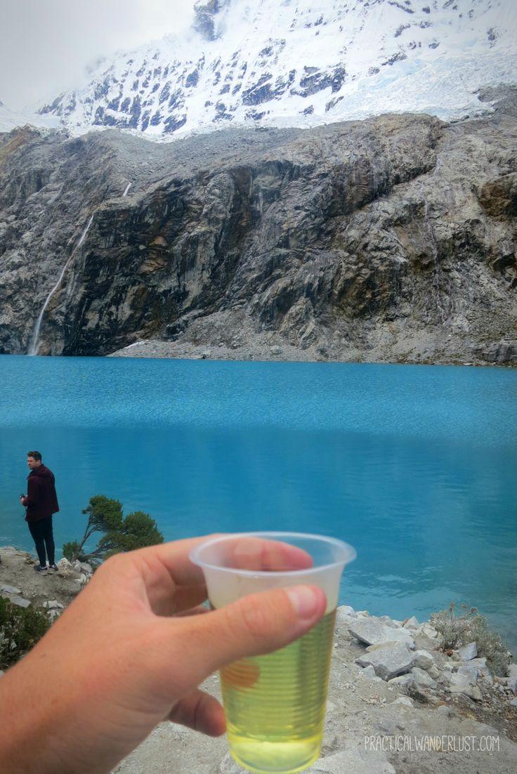 Coca Tea after hiking to Laguna 69, 15,000 feet above sea level in the Cordillera Blancas, Peru!
