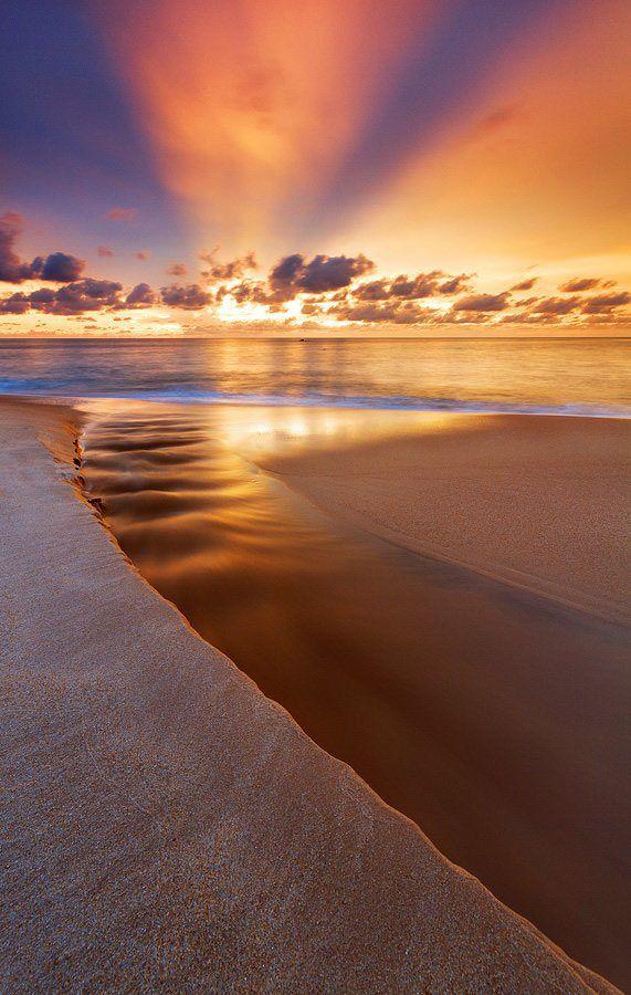Beautiful sunset at beach.