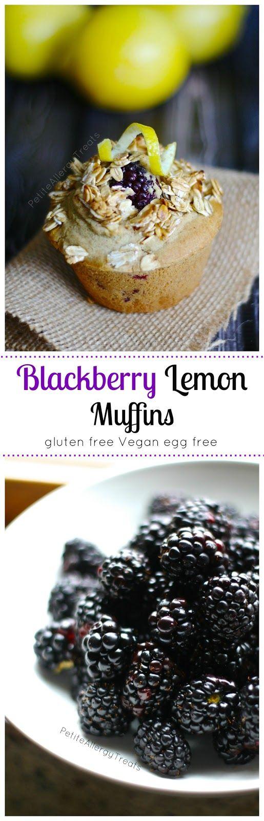 Lemon Blackberry Muffins (Gluten free Vegan) Luscious blackberries with hints of lemon, best gluten free muffin EVER!