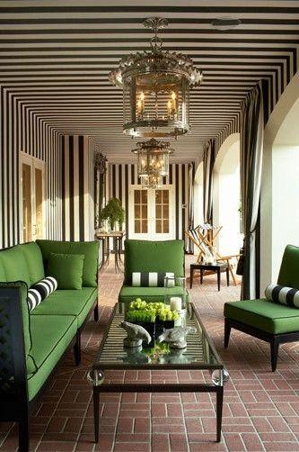 Those black & white stripes, that green furniture.