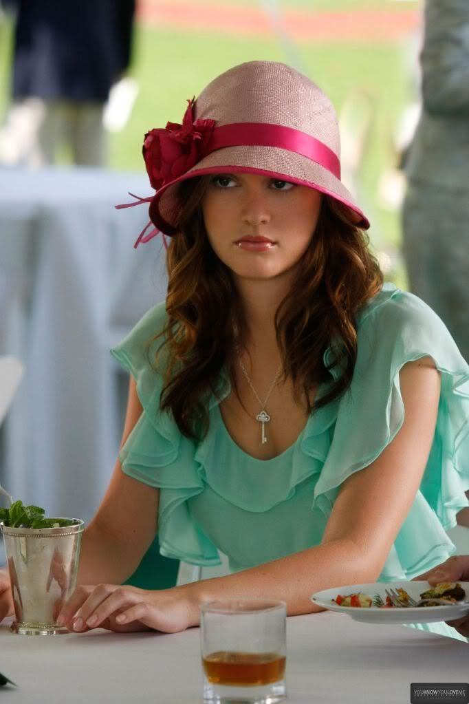 Blair Waldorf Fashion: 3x01 Reversals of Fortune (Walter dress, Louise Green hat, and Tiffany & Co. key necklace)