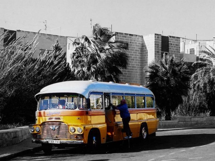 Bugibba bus. Photo by Pelix O.  Pinned by TheBarefootNomad.com