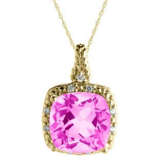 Cushion Cut Pink Sapphire June Gemstone Yellow Gold Diamond Braided Pendant Available Exclusively at Gemologica.com