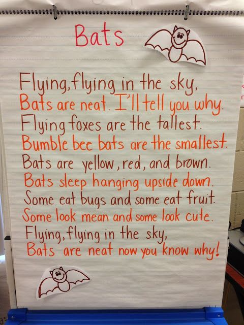 Bat poem anchor chart for elementary class Halloween literacy activity.