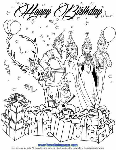 Colouring Pages H Y Birthday : 24 best disney frozen birthday coloring pages images on pinterest