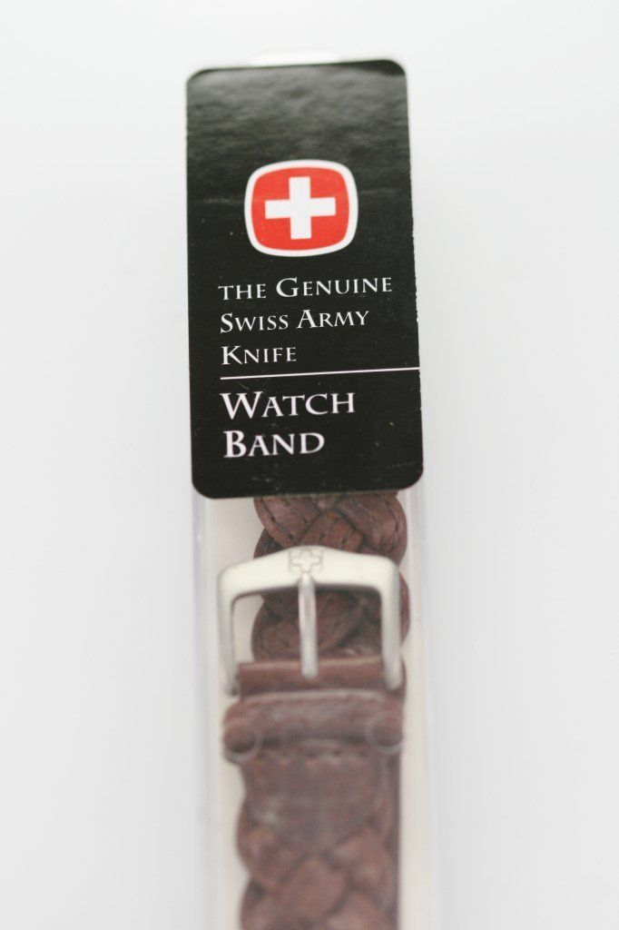 Swiss Army Men's Brown Leather Braid Replacement Watch Band Stainless Steel 18mm - watch liquidators