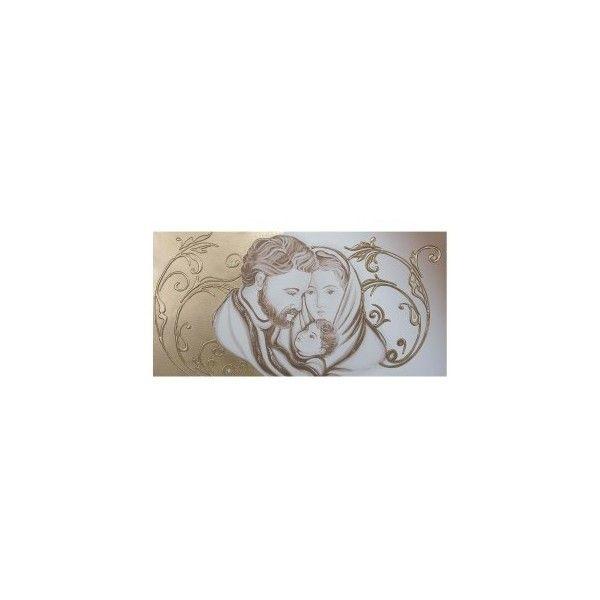Capezzale-quadro per camera da letto Sacra Famiglia floreale oro - via Polyvore