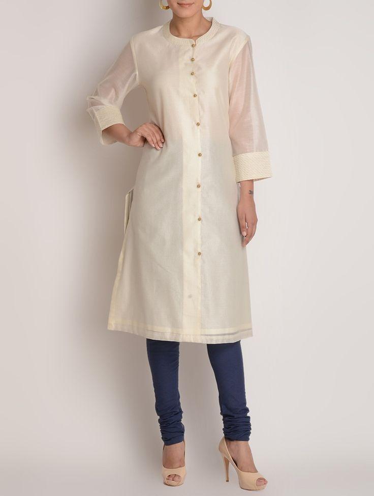 Buy Ivory-Golden Zari & Button Detailed Chanderi Kurta by Jaypore Online at Jaypore.com