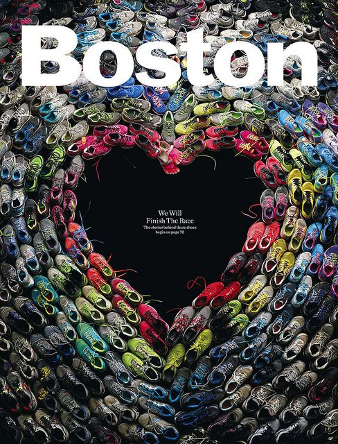 A simple idea to mark a traumatic week. Boston design director Brian Struble used running shoes worn in last week's Boston marathon to create this image (click image for larger version). Photograph by Mitch Feinberg.