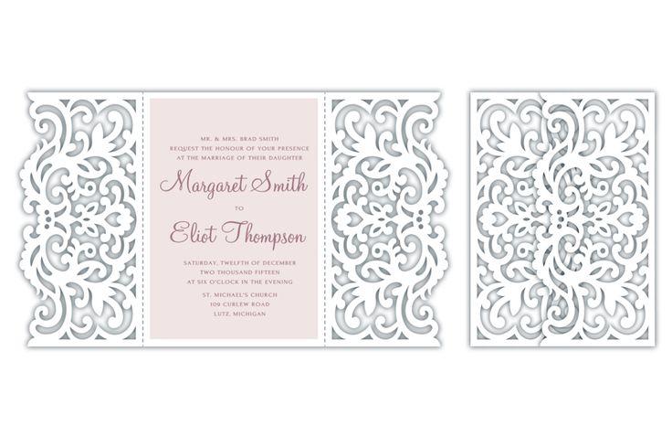 Gate-fold Wedding / Quinceanera Invitation laser cut Card ...