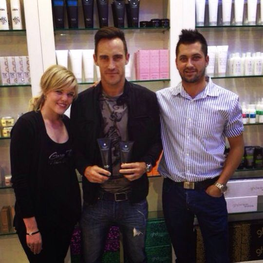 Faf Du Plessis with GRH stylists Calvin and Laria