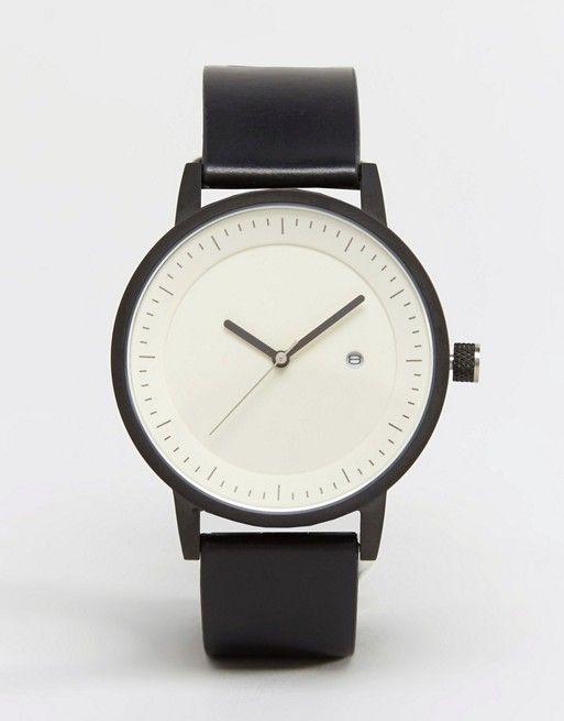 SWCO Earl Leather Watch In Black