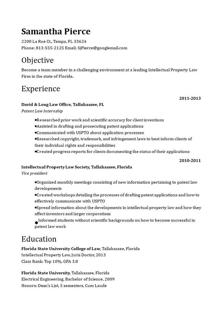 Patent Attorney Resume How to create a Patent Attorney