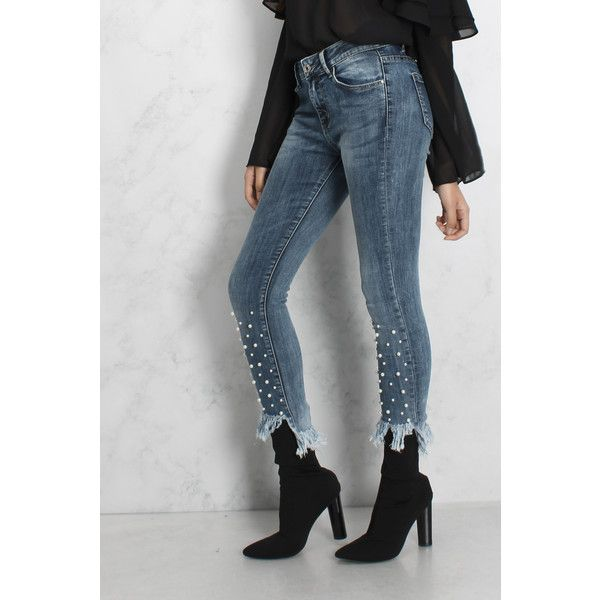 Rare Blue Stud Detail Frill Hem Jeans ($41) ❤ liked on Polyvore featuring jeans, blue jeans, blue skinny jeans, super skinny jeans, rare london and skinny leg jeans