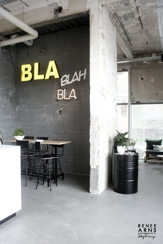 Kitchen. Chalk. Neon. Wall. Concrete. Home. Industrial. Design. Interior.
