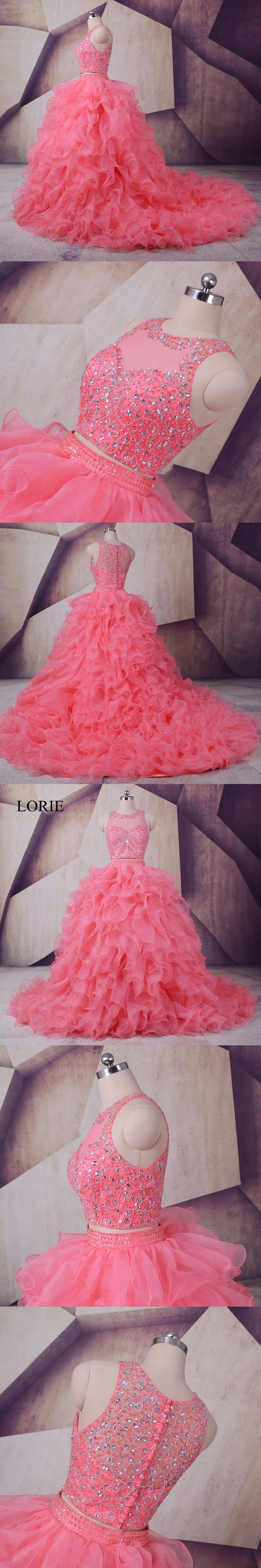 Vestidos De 15 Anos Peach Quinceanera Dresses 2017 LORIE Ruffles Crystals Beaded Luxury Debutante Gowns Girls Sweet 16 Dresses