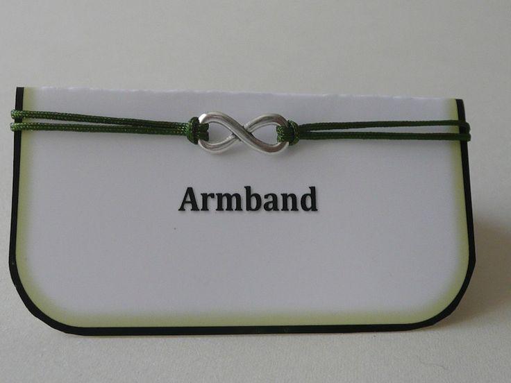 Armband filigran. Infinity silber. Band olivgrün. Größe verstellbar.