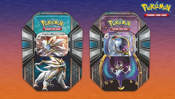 Pokémon TCG: Legends of Alola Tin Now Available   Capture the newly discovered Pokémon of the Alola region with Pokémon Trading Card Game: Legends of Alola Tin! Harness the sun and steel fury of Solgaleo-GX or uncover the moonlight mysteries of Lunala-GX. Each of these beautiful tins contains all the astonishing power of a Legendary Pokémon-GXa power that's new to the Pokémon TCG!  In each Pokémon TCG: Legends of Alola Tin you'll find:  1 of 2 foil Pokémon-GX cards: Solgaleo-GX or Lunala-GX…