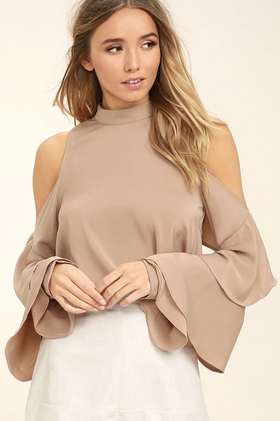 $44....Why go against the current when you can go with the trends in the Flow With It Beige Top! Woven poly flows from a mock neck into a relaxed bodice and rippling, ruffled long sleeves with cold-shoulder cutouts. Back keyhole with double button closure.