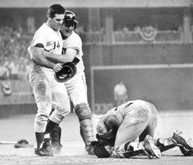 Pete Rose after he ran over Ray Fosse to win the 1970 All Star Game for the National League. Fosse suffered a separated shoulder as a result.