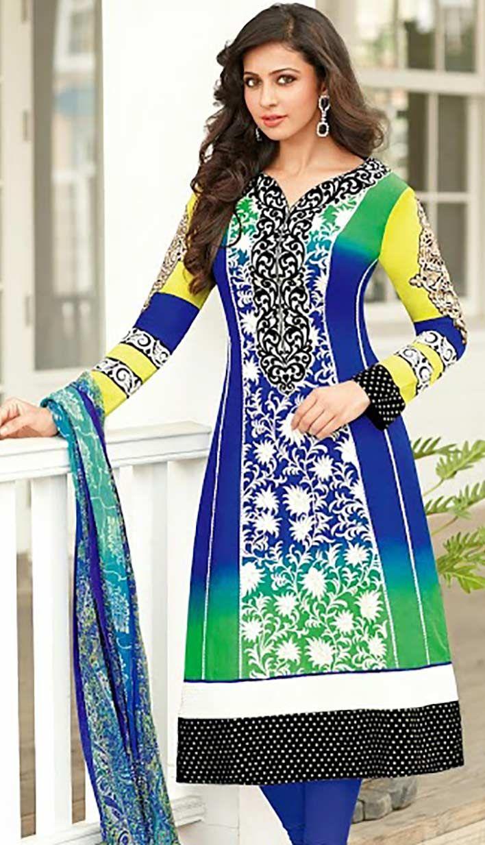 Buy Fashionable Indian Royal Blue #CottonPartyWearDresses Product code: KPW-38521 Price: INR 4190 (Unstitch Suit), Color: Royal Blue Shop Online now: http://www.efello.co/Salwar-Kameez_Fashionable-Indian-Royal-Blue-Cotton-Party-Wear-Dresses,-Dress_36897