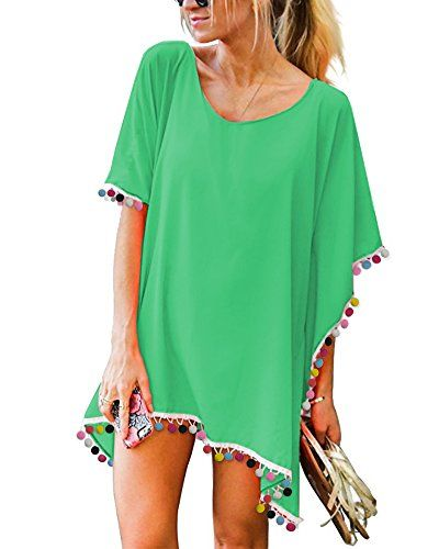 776a5a0be0 Webury Chiffon Bathing Suit Cover Ups #Women Plus Size Dresses #Sexy for  Beach #Swimsuit and #Bikini with Tassel colorball Turquoise B