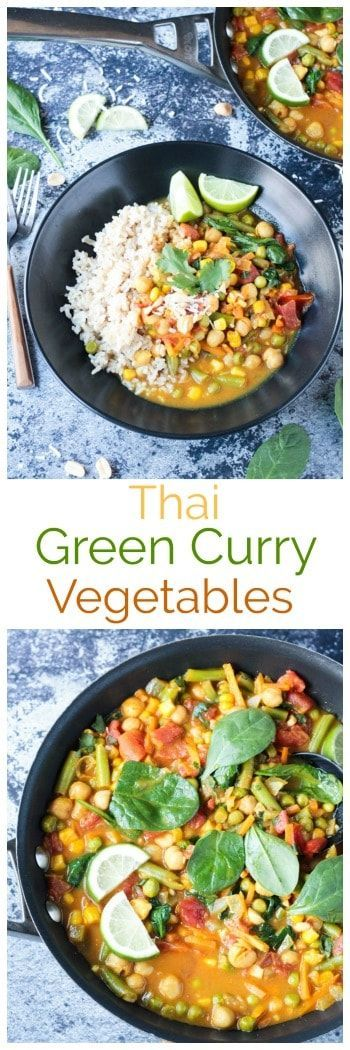 Quick and Easy Thai Green Curry Vegetables - fragrant, flavorful and ready in under 30 minutes. Perfect for a weeknight meal. Serve it up with rice or noodles. Kid approved too! #vegan #vegetarian #curry #thai #rice #vegetables #dairyfree #glutenfree  via @veggieinspired