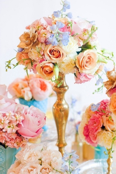 peaches pinks add corals & gold candlesticks