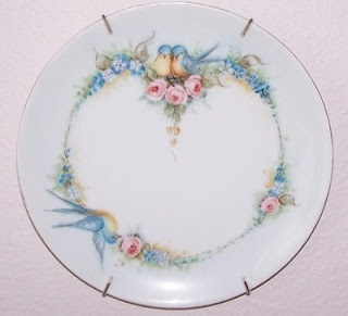 Tea Cottage Pretties: BAVARIAN BIRD PLATECottages Pretty, Hands Painting, China Painting, Bluebirds Cottages, Bavarian China, Birds Plates, Teas Cottages, Blue Birds, Bavarian Birds