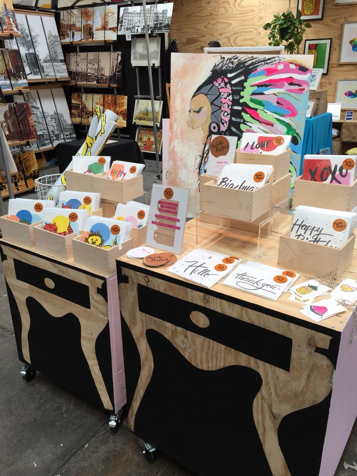 MyLittlePerfect market stall display in Fitzroy, Melbourne. I make cards, prints & original paintings.