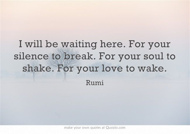 """""""I will be waiting here ... for your soul to shake"""" -Rumi"""