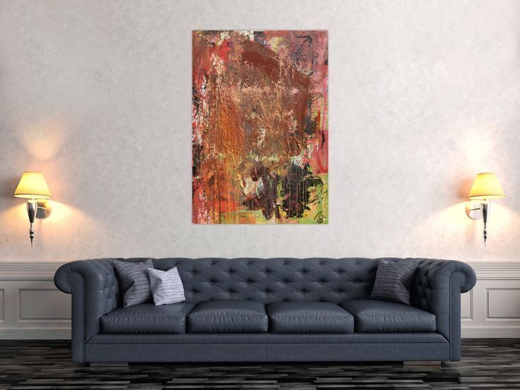 Abstract painting in mixed technique acrylic and rust very modern and unique m  – Leinwandgemälde