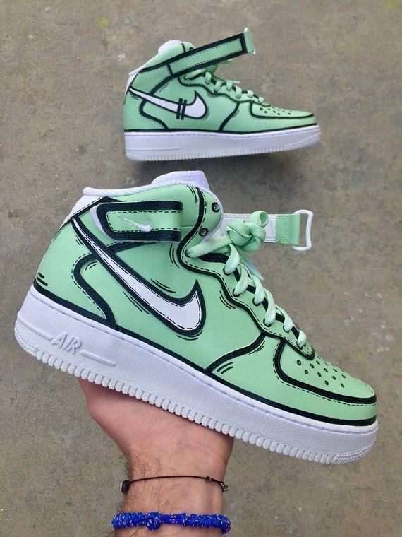 Custom Nike Air Force 1 Mint X Blank Lines Nike Air Force