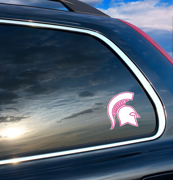 Michigan State Spartan Helmet Decal  with Pink Outline - CUTE!