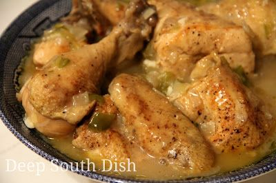 Southern Stewed Chicken  ------  This traditional Southern dish begins with a cut up chicken that is browned and slow simmered in a roux based gravy.