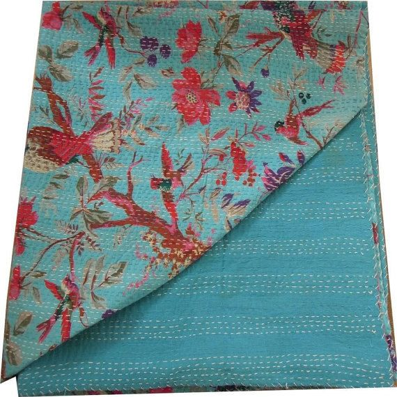 Twin size Indian Handmade Bird Print Kantha Quilt by lavinas