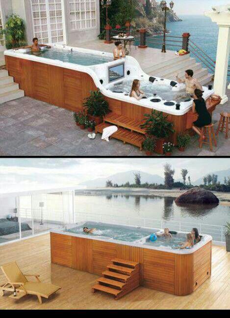 Hot Tub Amp Endless Swim Pool In One Wow It S Big