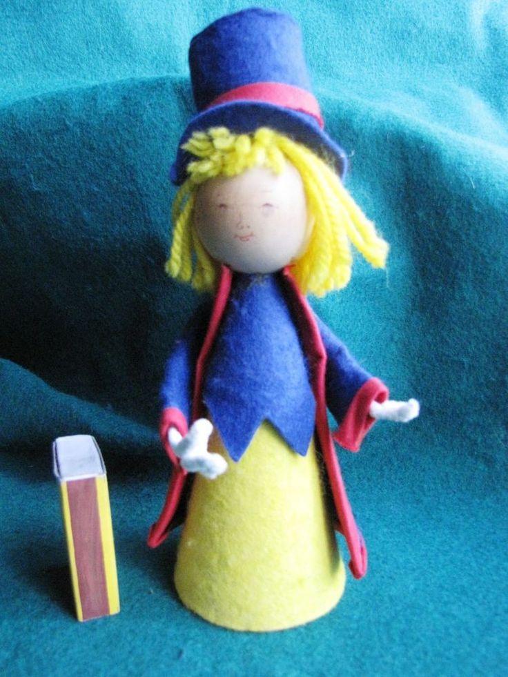 Vintage Wood Swedish People Figure Girl Doll blue Sweden Desing A