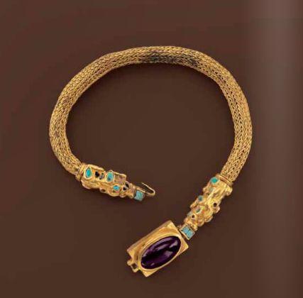 Samaritan necklace, gold, turquoise, amethyst, 1st century B.C.