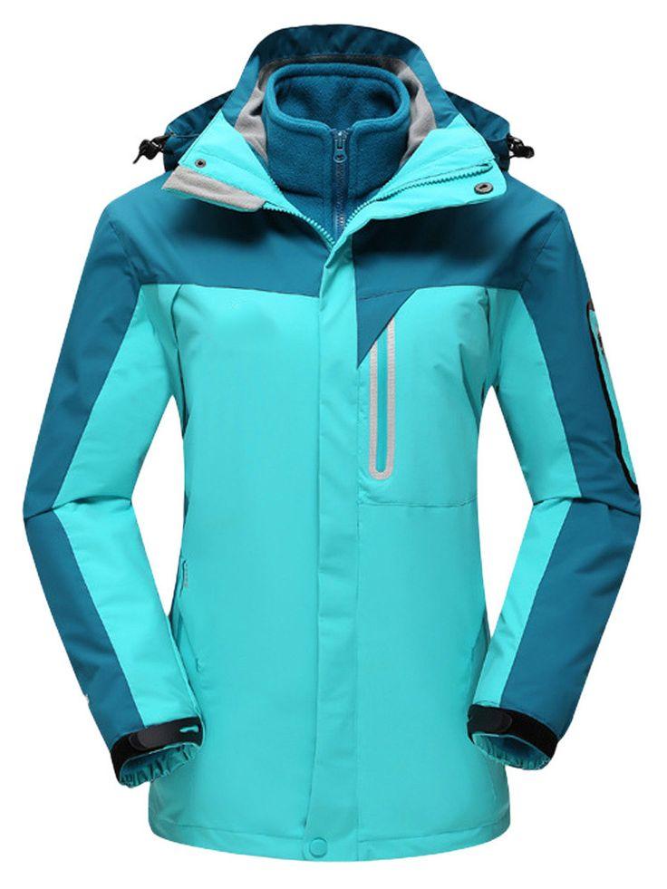 Sale 21% (94.17$) - Plus Size Thick Color Block Two-Piece Hood Ski Jacket