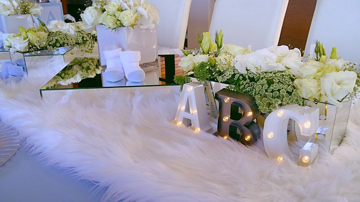 Posh Baby Shower - white and baby blue - ABC - Centrepiece - Flowers