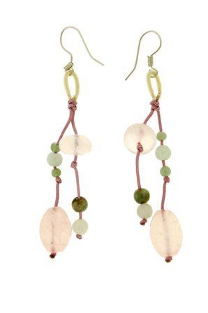 Rose Quartz Oval Beads and Round beads Handmade Earrings