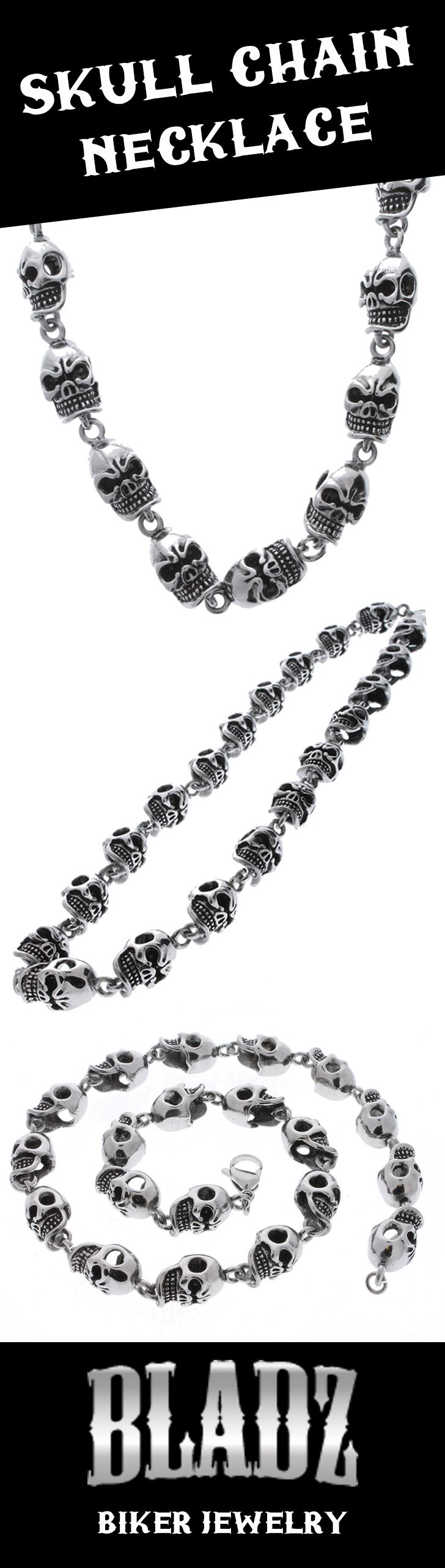 Motorcycle bike chain ring 14k black - Wicked Skull Rings Necklaces And Bracelets Found Them At Bladz Com
