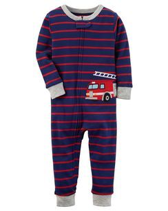 b33c6fad7 1-Piece Firetruck Snug Fit Cotton Footless PJs