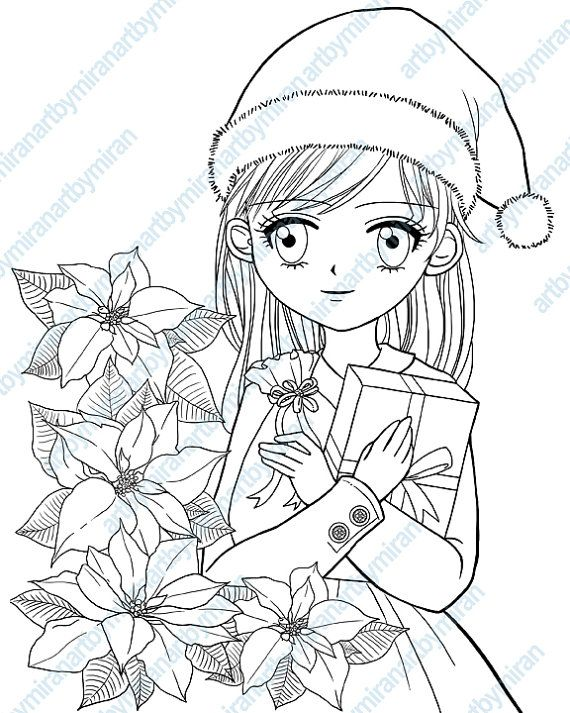christmas digital stamp poinsettia and girl coloring page xmas digi stamp kids coloring book instant download printable anime manga