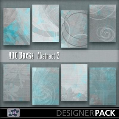 For ATC lovers. 8 Backgrounds ready sized for you. [2.5 x 3.5 inches] NB These are NOT fullsized scrapbook papers. This set are teal and gre...