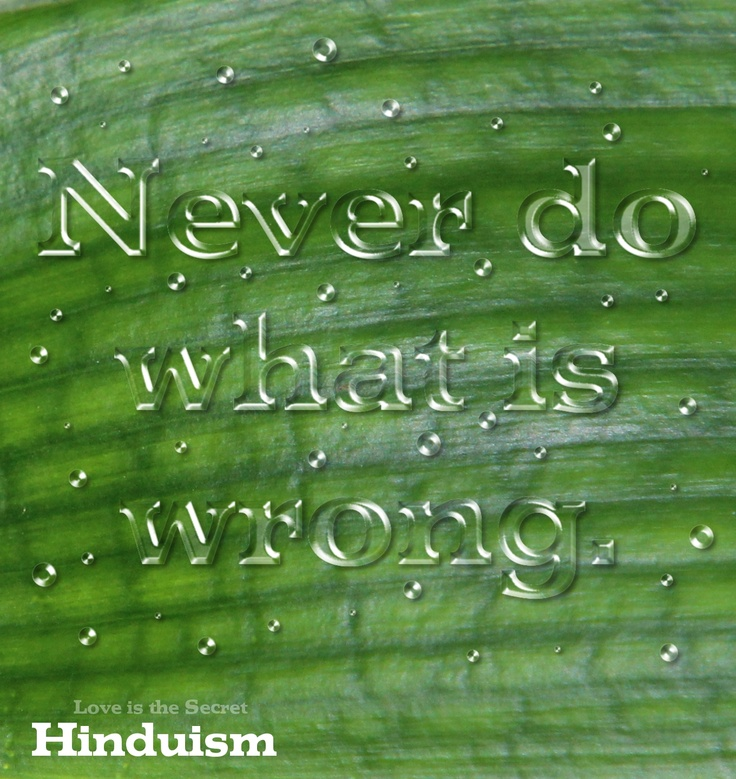 Never do what is wrong. Honor those who are worthy of honor. Give with Faith. Give with Love. Give with Joy. If you are in doubt about right conduct, follow the example of the sages, who know what is best for spiritual growth. This is the instruction of the Vedas; this is the secret; this is the message. Hinduism Taittiriya Upanishad, 1.11 Source:http://www.thesoulofashark.com/2012/12/28/great-quote/