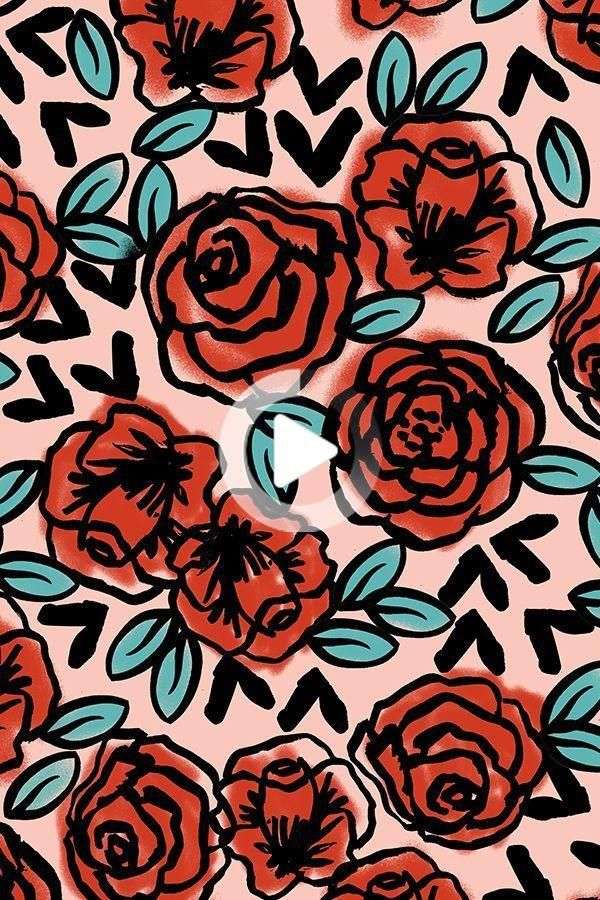 Colorful Fabrics Digitally Printed By Spoonflower Roses Red Vintage Style Illustration Florals Art Wallpaper Pattern Art Wallpaper Backgrounds